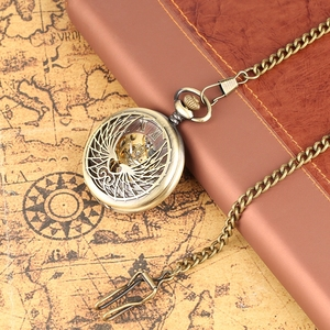 Image 4 - Steampunk Black/Bronze Hollow Phoenix Carving Mechanical Pocket Watch Roman Numerals Display Pin Chain Retro Clock Collectibles