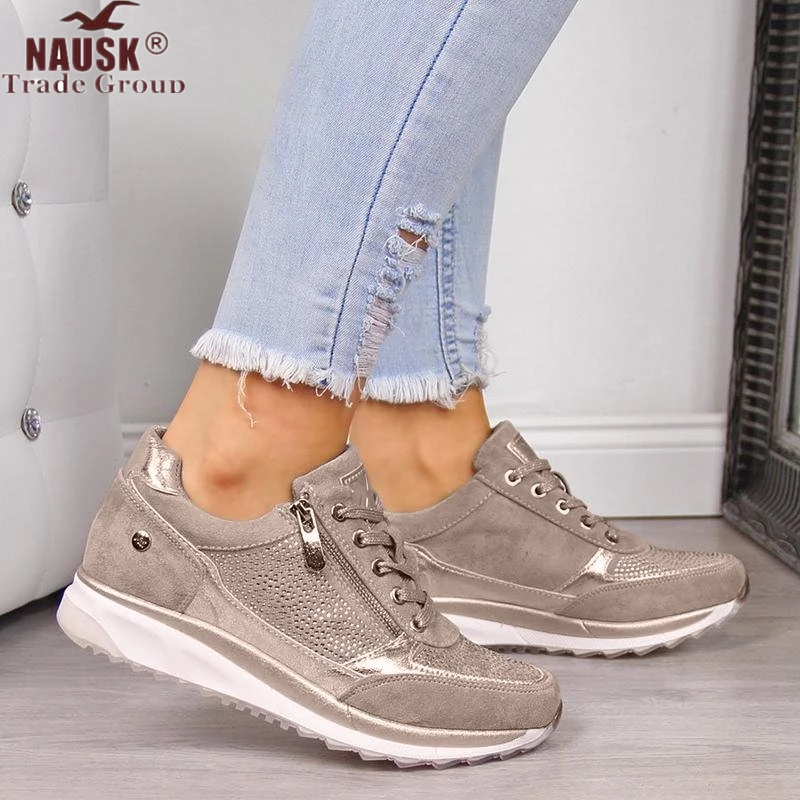 Women Shoes Gold Sneakers Zipper Platform Trainers Women Shoes Casual Lace-Up Tenis Feminino Zapatos De Mujer Womens Sneakers(China)