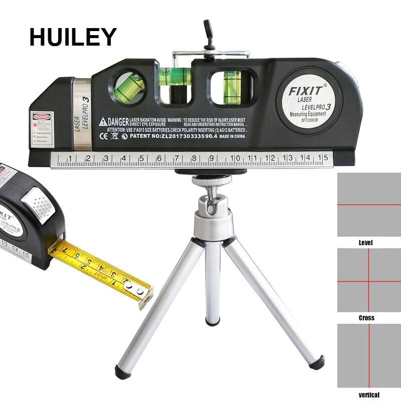Laser Level Horizontal Vertical Measure Line Tape Adjusted Multifunction Standard Ruler Lasers Lines Instrument Tripod Battery