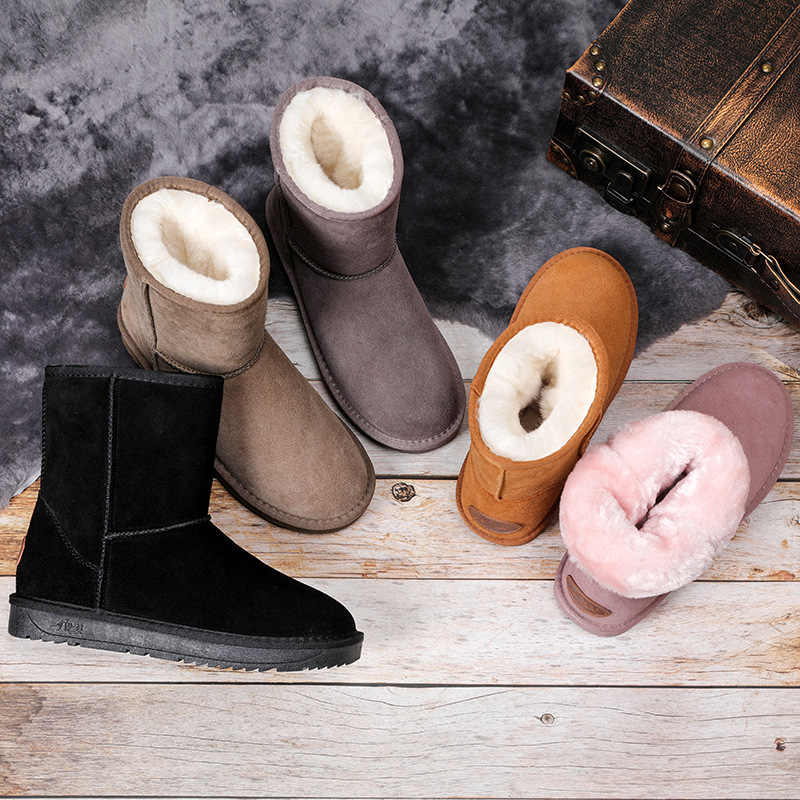 2020 New Genuine Leather Fur Snow Boots Women Top High Quality Australia Boots Winter Boots for Women Warm Botas Mujer