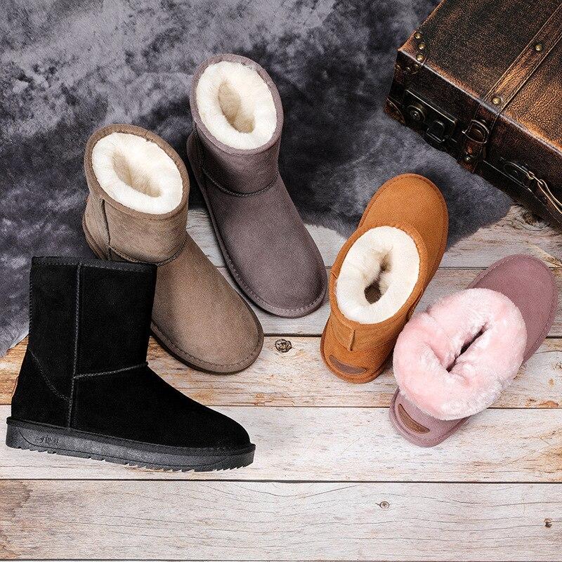 2019 novo couro genuíno botas de neve de pele das mulheres superior alta qualidade austrália botas de inverno para mulheres quentes botas mujer