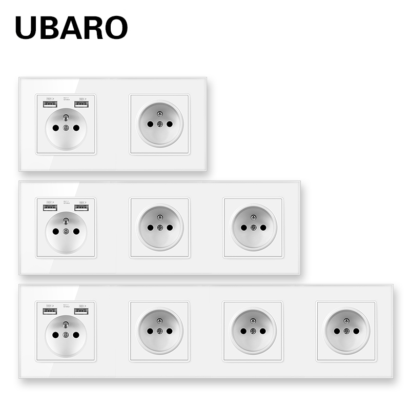 UBARO French Standard Tempered Glass Panel Wall Socket With Usb 5V 2A Electrical Prise  Power Plug Hotel Outlet AC100-250V 16A