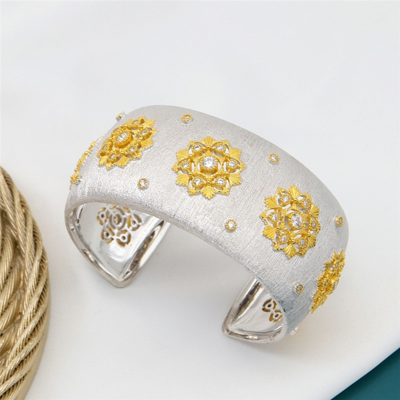 CMajor S925 Sterling Silver Fine Jewelry Delicate Temperament Flower Shape Wide Cuff Bangles for Women Valentine's Day Gift - 6