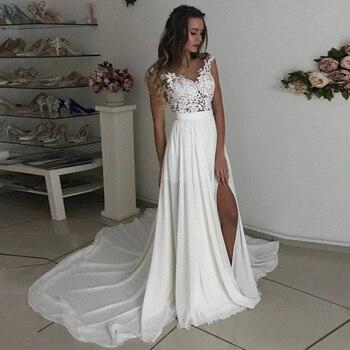 Apliques de vestido de novia de encaje para la playa, Sexy, mangas,...