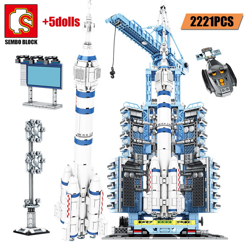 SEMBO City Police RC Aerospace Rocket Building Blocks Military Technic Remote Control Launcher Figure Brick Gifts Toys For Boys image