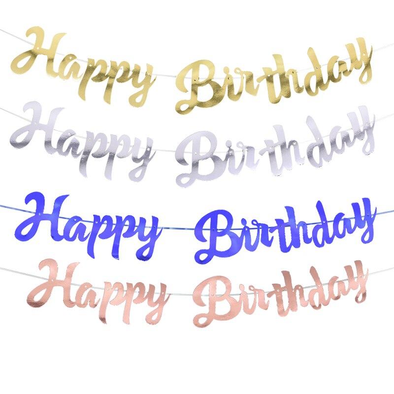 1 комплект, блестящая поверхность, бумага, с днем рождения, баннер, розовое золото, серебро, синий, с буквенным принтом, гирлянда для детей, ук...