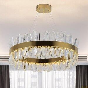 Image 2 - Youlaike 현대 LED 샹들리에 거실 럭셔리 크리스탈 샹들리에 조명 골드/크롬 세련 된 철강 디자인 교수형 램프