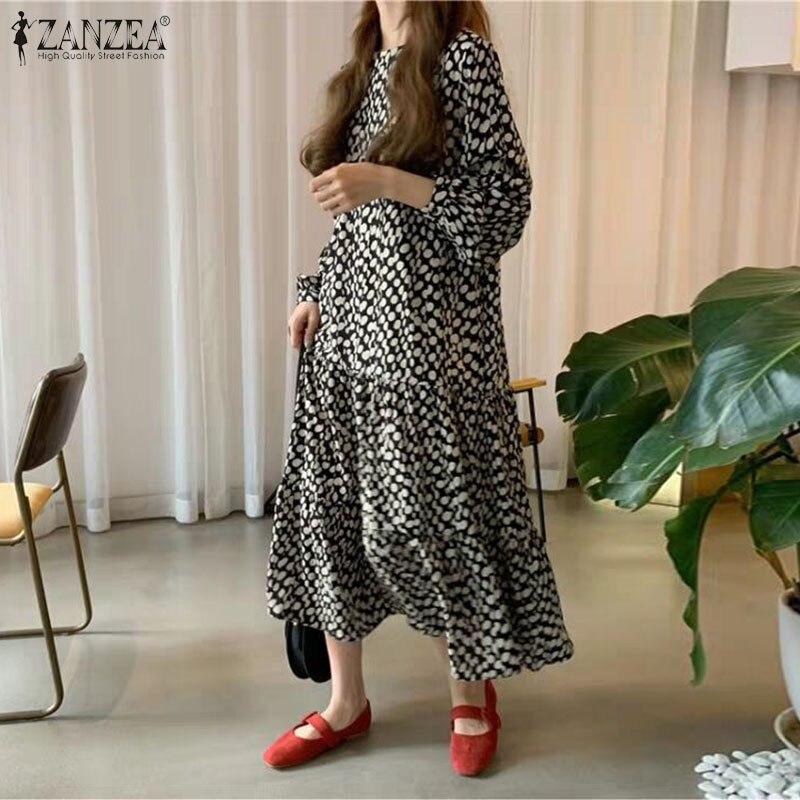 Women's Casual Printed Maxi Dress 2020 ZANZEA Bohemian Spring Sundress Long Sleeve Shirt Vestidos Female Button Robe Plus Size