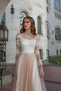 Image 4 - Vestidos De Noiva MỘT Đường Dài Tay Áo Váy Cạp Ren Appliques Nút Ảo Ảnh Càn Quét Tàu Cưới Áo Dài Cô Dâu