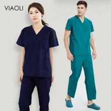Viaoli, унисекс, медицинская форма, скрабы для кормления, одежда с короткими рукавами, топы, штаны, рубашка доктора, кисть, ручная одежда, рабочая одежда для мужчин