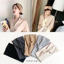 Bandeau dhiver en coton pour femmes, Turban, couleur unie, accessoires pour cheveux avec nœud, maquillage, bandeau élastique