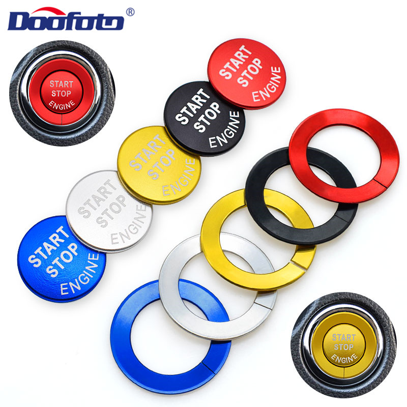 Doofoto Car Start Stop Engine Button Cover Ring For Nissan X-trail T32 Rogue Qashqai Murano Teana Interior Sticker Accessories