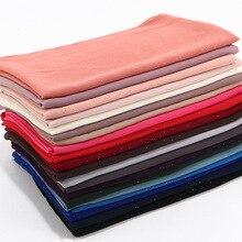 2020 di Colore solido Primavera Estate Glitter Sciarpa di Chiffon per Le Donne Shimmer Scialle Musulmano Testa Capelli Hijab Sciarpe Bufanda Mujer