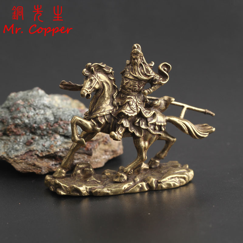 Brass Chinese God Of Wealth Riding Horse Guan Gong Statue Home Decoration Accessories Copper Office Desk Decor Buddha Ornaments