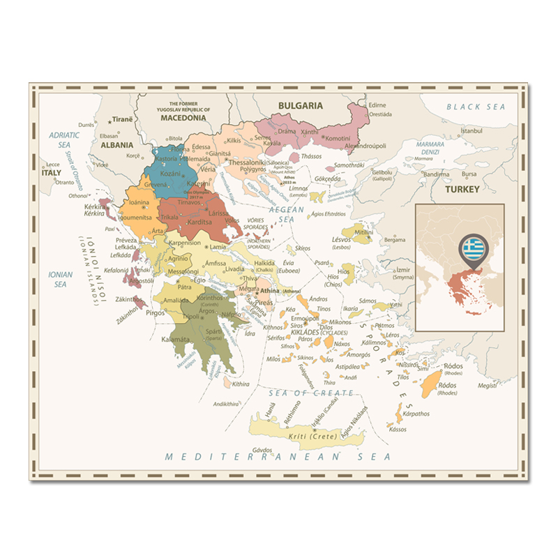 Colorful Greece Map Poster Size Wall Decoration Large Map Of Greece 80x63cm Waterproof Canvas Map