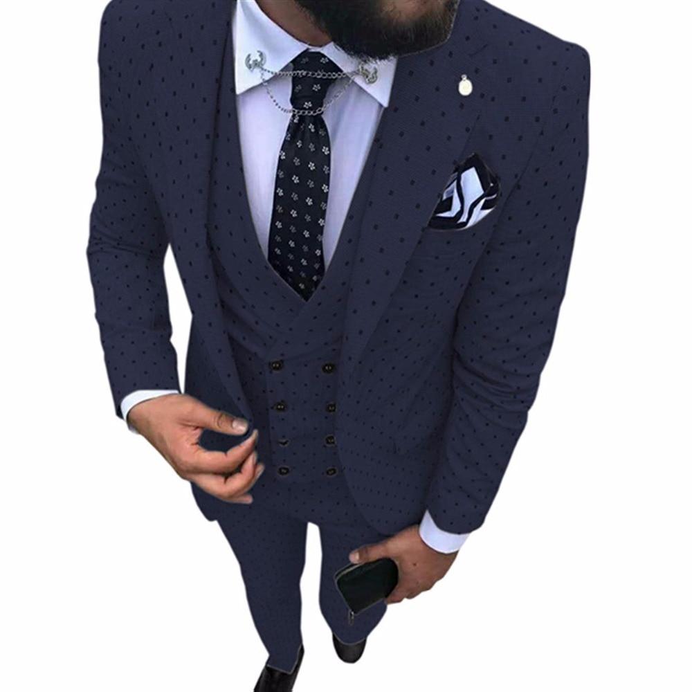 Navy Blue Men's Poika Dot Suit 3-Pieces Latest Coat Pant Designs Notch Lapel Tuxedos Groomsmen For Wedding/party(Blazer+vest+Pan