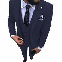 Navy blue Men's Poika dot Suit 3 Pieces latest coat pant designs Notch Lapel Tuxedos Groomsmen For Wedding/party(Blazer+vest+Pan