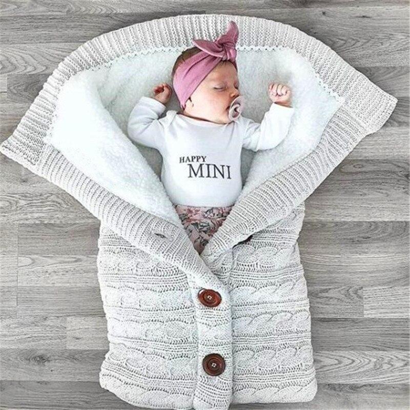 Baby Sleeping Bag Thickening Plus Cotton Wool Knitted Warm Stroller Saco De Dormir Comfortable Soft Swaddling Wrap Footmuff