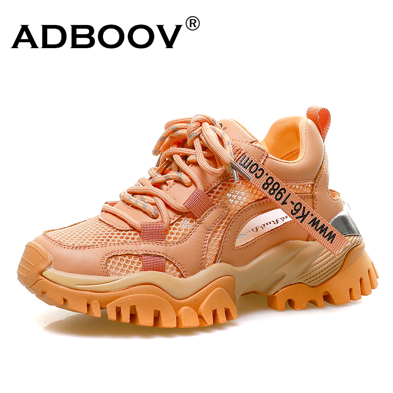 ADBOOV Hollow Summer Sneakers Women Fashion Casual Shoes Genuine Leather Platform Chunky Sneakers Ladies