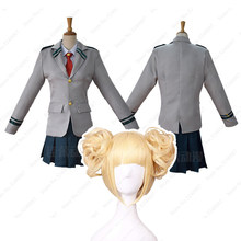My Boku No Hero Academia Anime Wigs 코스프레 의상 Bakugou Katsuki 학교 유니폼 블라우스 Tshirt Pleated Skirt Girl Clothing Set(China)