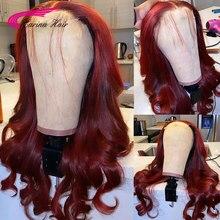Peluca con malla frontal roja 99J para mujer, pelucas de cabello humano ondulado brasileño prearrancado, encaje transparente, 99J, Red180 %, Remy