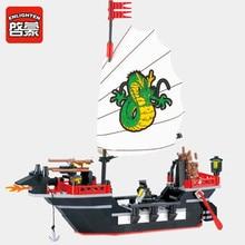 Enlighten 211Pcs Pirate Ship Dragon Boat City Creator Bricks LegoINGs Building Blocks Sets DIY Toys for children Christmas Gifts enlighten 310 pirate boat pirate castle robbery barracks figure blocks compatible legoe construction building toys for children