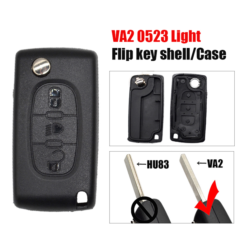 P0060C flip remote <font><b>key</b></font> shell 0523 Type VA2 <font><b>key</b></font> 3button Light button for Citroen C5 C4 C3 <font><b>Peugeot</b></font> <font><b>308</b></font> 307 folding <font><b>key</b></font> Case image