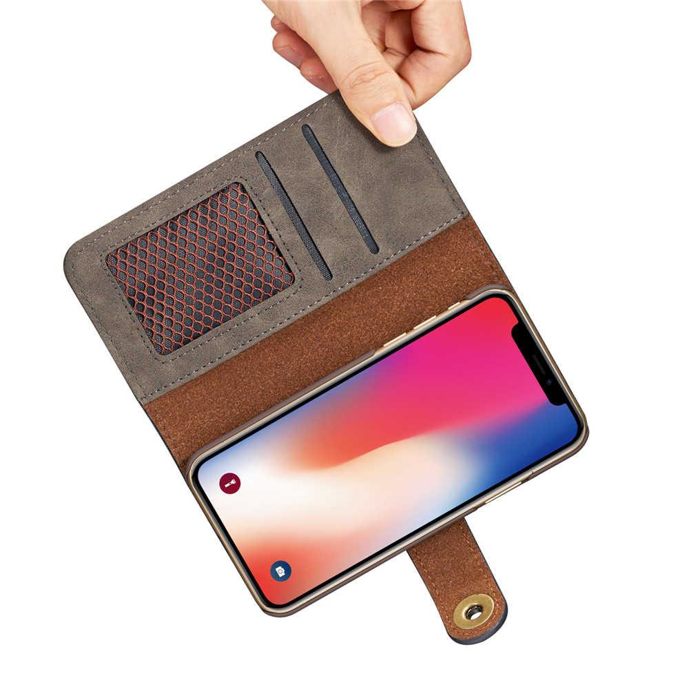 أغطية جلد ظهر قابلة للإزالة مغناطيسية لهاتف آيفون 11 برو ماكس XR X XS MAX 8 7 6 Plus حافظة بطاقات