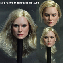 Fans collection 1/6 female action figure doll head MC002 Brie Larson Female Head Sculpt with Long Golen Hair for 12inches Body цены