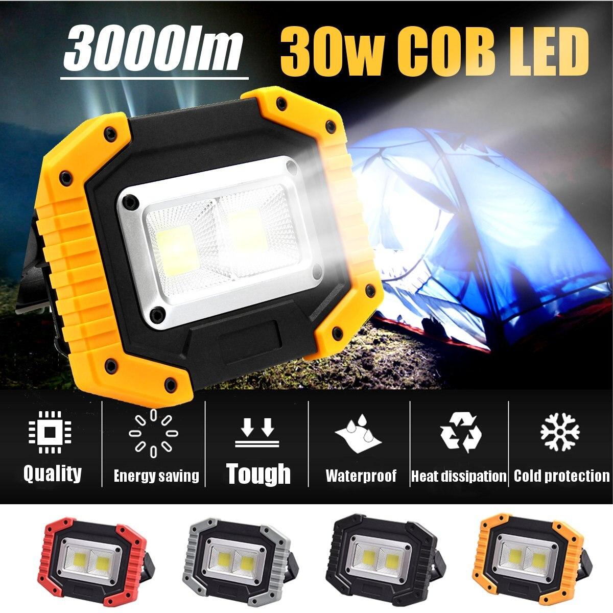 2 COB 30W 3000LM قابلة للشحن LED الفيضانات أضواء المحمولة للماء IP65 ل في الهواء الطلق التخييم المشي لمسافات طويلة الطوارئ سيارة إصلاح