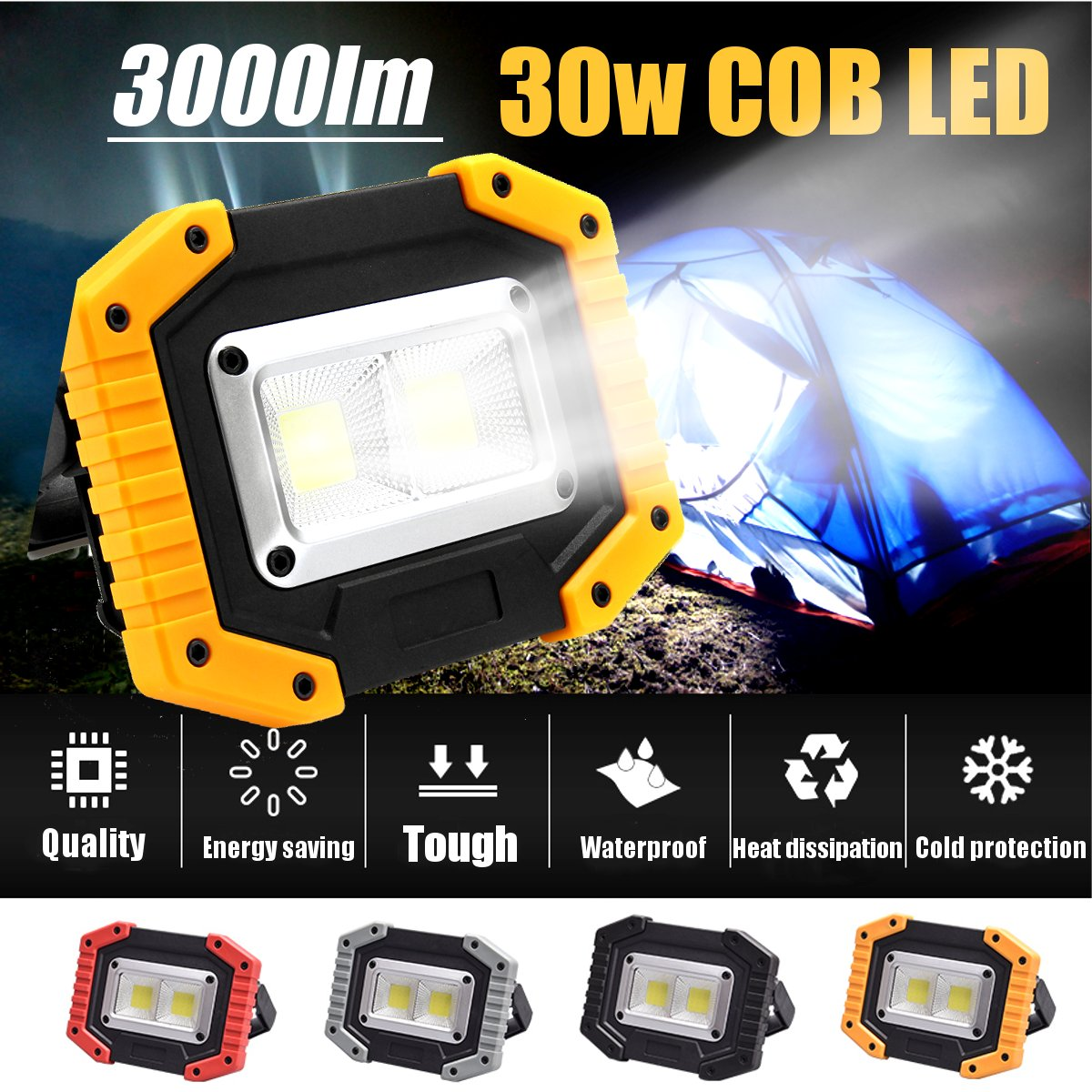 2 COB 30W 3000LM Rechargeable LED Flood Lights Portable Waterproof IP65 for Outdoor Camping Hiking Emergency Car Repair