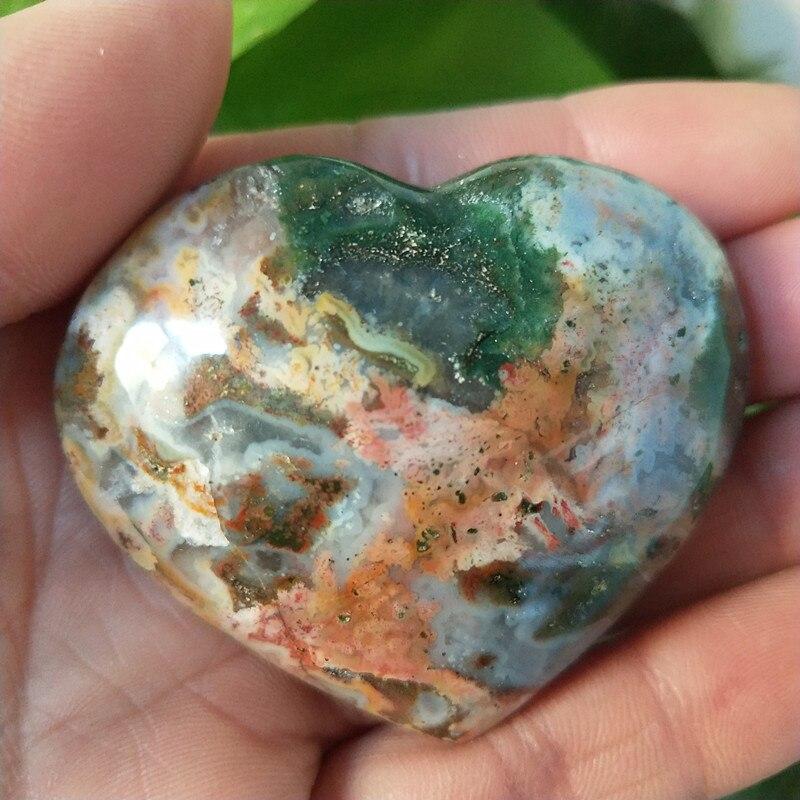 Natural Sea Jasper Stone Sea Gem Heart Crystal Stone Mineral Specimen Crystal Ston