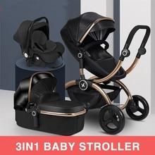 EU High Landscape Baby Stroller Can Sit Reclining Lightweight Folding Gold Frame