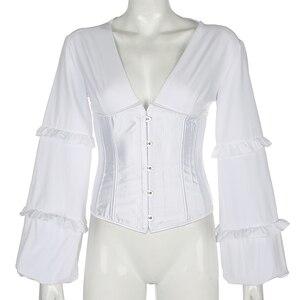 Image 5 - Darlingaga V Neck Elegant Hook Lace Up Shirt Women Corset Splice Fashion Party Bustier Top Backless Blouses Shirts Slim Bodycon
