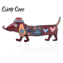Cring Coco Charms Red/Green/Purple/Blue Dog Brooch for Kids Cute Dachshund Enamel Pin Brooches Denim Lapel Personality Jewelry cute brooch green enamel cactus brooches