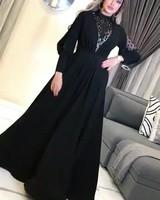 Elegant Black Long Sleeve Formal Evening Dress Dubai High Neck Glitter Crystal Beaded Prom Dresses Plus Size Gala Party Gowns