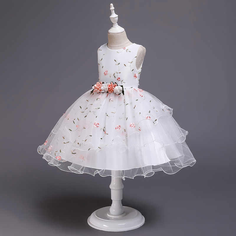 זה YiiYa פרח ילדה שמלות אלגנטי הדפסת O-צוואר בנות תחרות שמלת Apliques קצר טנק Vestidos דה נוצ 'Para Ninas 2009