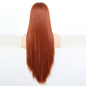 Image 5 - Charisma ยาวตรงทองแดงสีแดง Wigs ด้านหน้าลูกไม้สังเคราะห์ด้านหน้าวิกผมอุณหภูมิสูงวิกผมผมแฟชั่นผู้หญิงกลาง