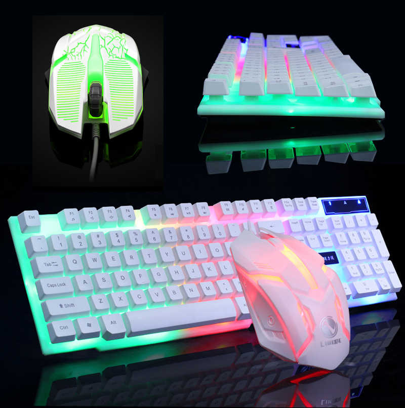 Regenboog Kleurrijke Led Mode Backlit Bedraad Toetsenbord Muis Set Gaming Toetsenbord Gamer Muis Statief Toetsenbord Home Office Pc Laptop