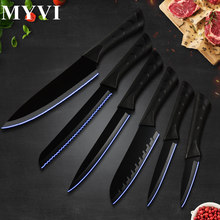 Black Stainless Steel Knife 6 Pcs Set Kitchen Knives Ultra Sharp Carving Santoku Chef's Knife Bread Slice Utility Knife Dropship bread knife opinel parallele 33 6 cm yellow