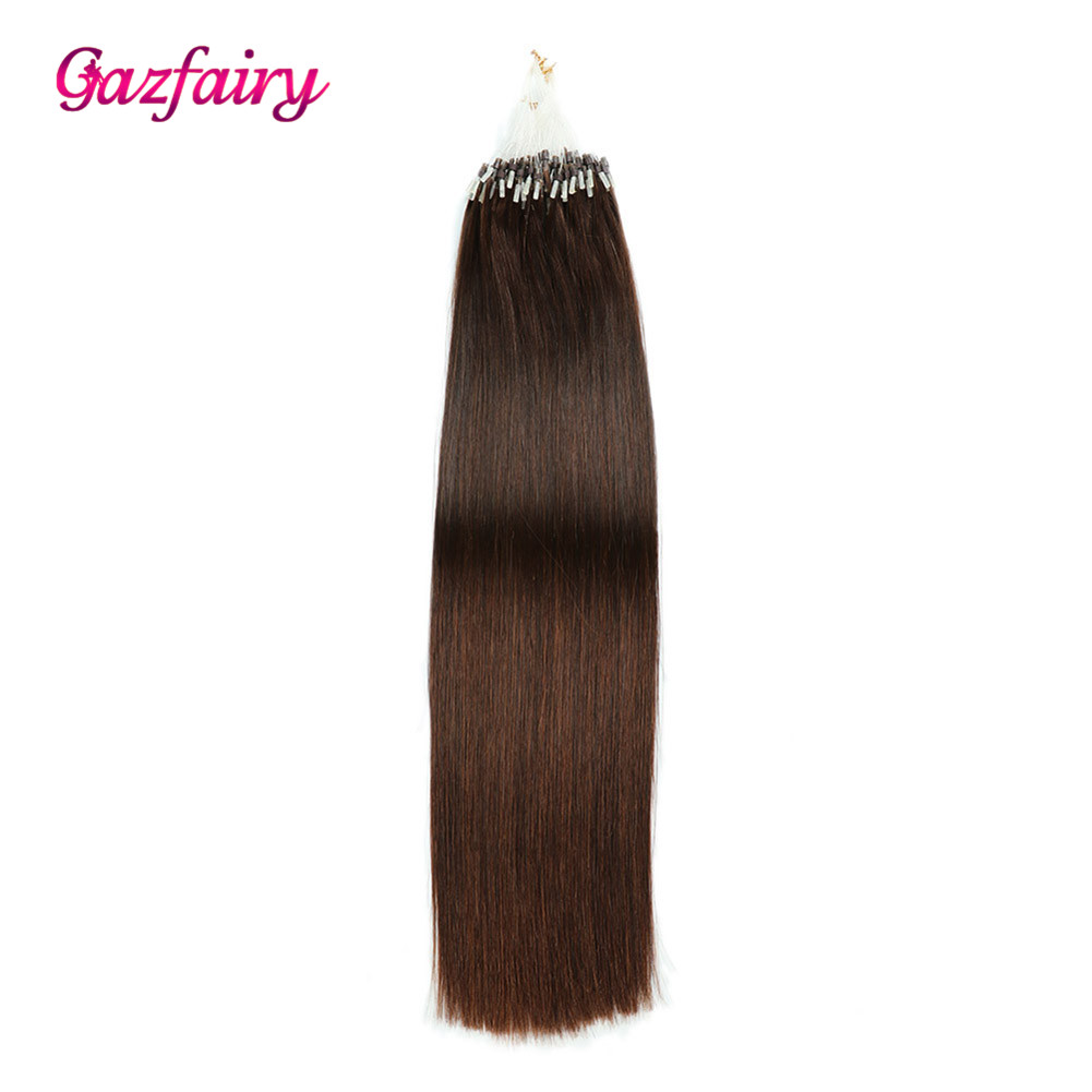 Gazfairy Loop Micro Ring Hair Extensions 16 Inch 1g/s 100g Silky Straight Human Micro Bead Links Real Remy Hair Italian Keratin