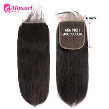 Perruque Lace Closure brésilienne naturelle Remy – AliPearl Hair, cheveux lisses, couleur naturelle, 6x6, 10-20 pouces, avec Baby Hair