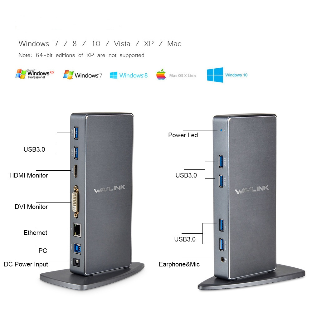 Liga de Alumínio Wavlink Universal Portátil Docking Station Vídeo Duplo Hdmi Dvi Gigabit Ethernet Estender – Espelho Modo Usb 3.0