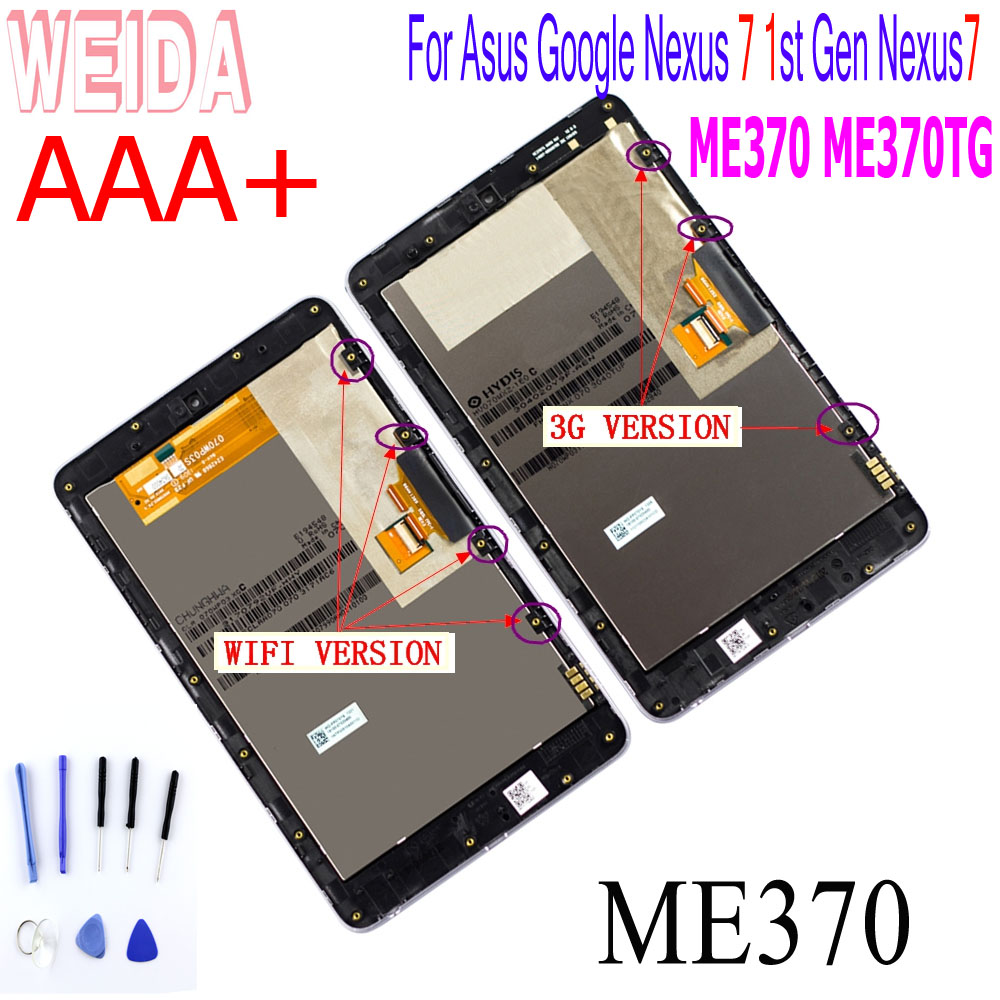 WEIDA For Asus Google Nexus 7 Me370 1st Gen Nexus7 2012 LCD Touch Screen Assembly Frame ME370T ME370TG