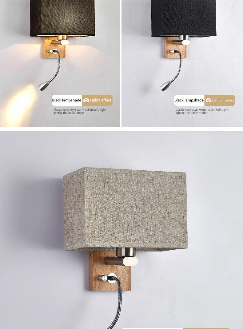 luzes led lâmpadas parede madeira maciça criativo
