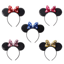 New Baby Headband Mickey Minnie Lovely Ear Bow Hair Accessories Disney Cosplay Children Christmas Hair Clip For Kids Photo Prop(China)