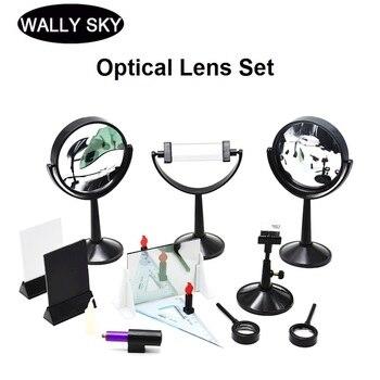 Conjunto óptico de gran tamaño lente convexa cóncava fuente de luz de tres líneas banco óptico Pinhole imagen plana Triangular