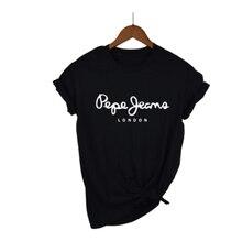 Lus Los letter printed T Shirt pape jeans women's leisure t-shirt top t