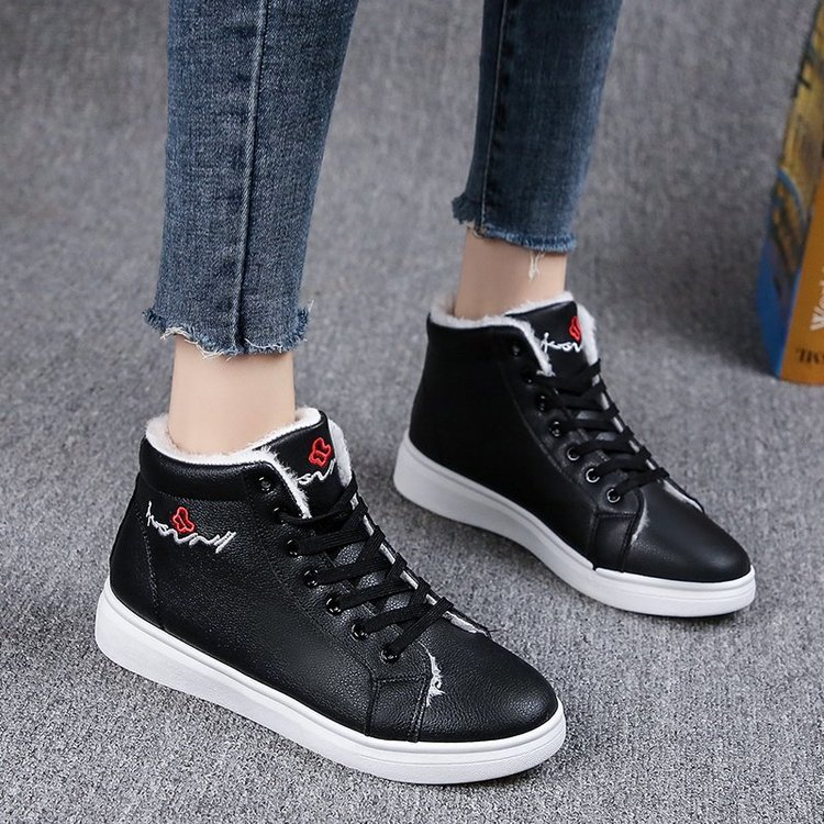 2020 Winter Ankle Boots Women Warm Thick Plush Suede Snow Boots Female PU Leather Sneaker Fur Shoes Women Botines Mujer