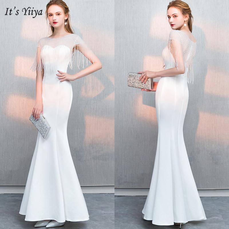It's Yiiya   Evening     Dress   O-Neck Plus Size Short Sleeve Women Party   Dresses   Simple Mermaid Floor-Length Robe De Soiree V065
